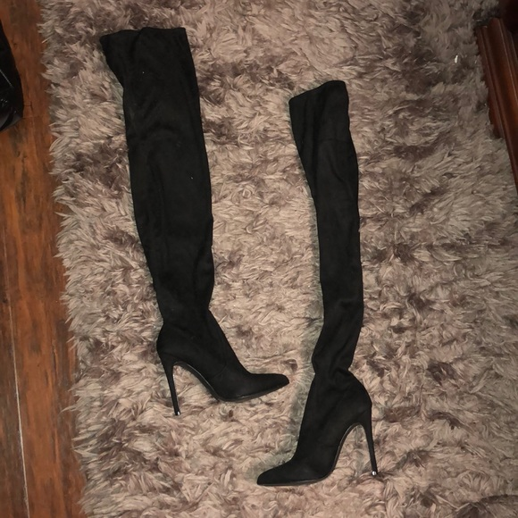 Missguided Shoes - Black over the knee boots